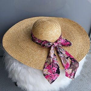 Oversized Straw Hat with Pink Ribbon